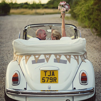 Elodie, a triple white Karmann Beetle Cabriolet